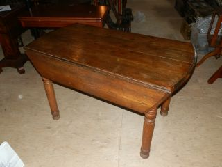 Wonderful Rustic 150+ Year Old Oak Drop Leaf Table Great For A Kitchen photo