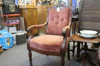 Gorgeous Victorian Upholstered Chair Origional Finish Upholstery photo