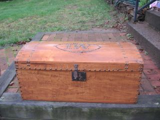 Antique Carriage Travel Trunk Chest Brass Tacks 1827 photo