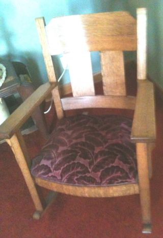 Vintage Mission Tiger Oak Grandfather Rocking Chair photo