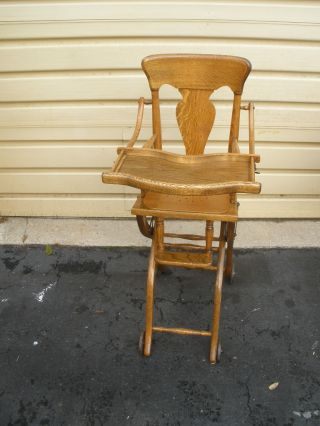 48809 Antique Victorian Collapsable Highchair Chair photo