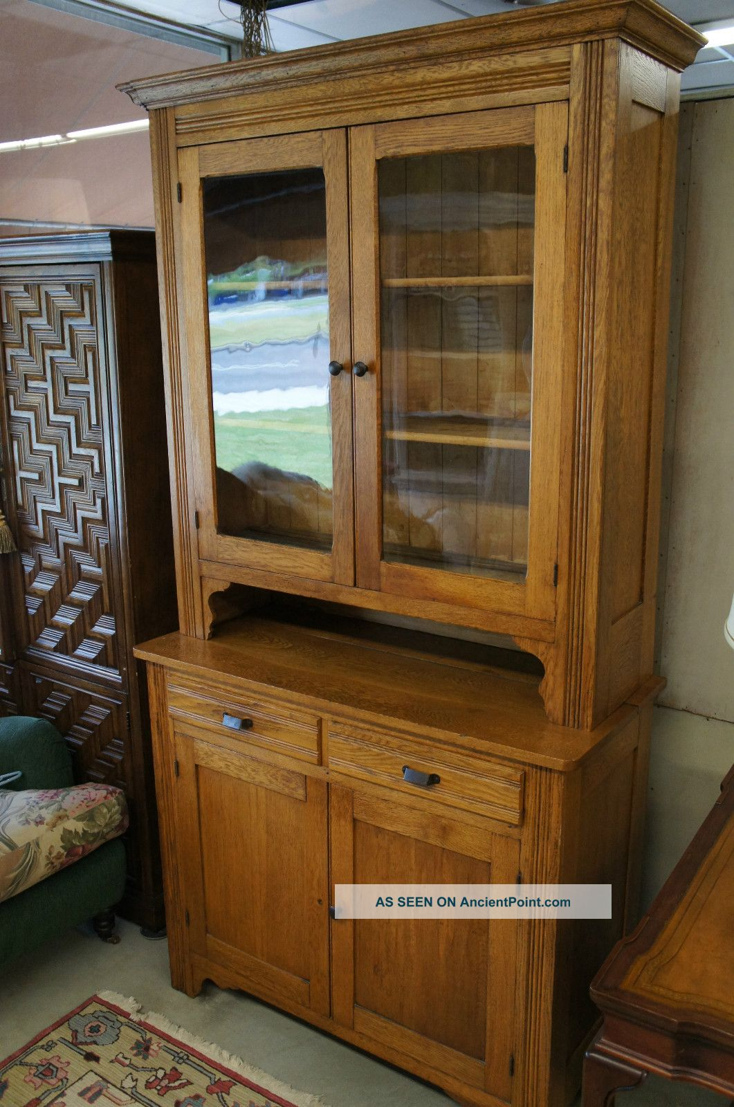 - Unique Antique Oak China Cabinet Curio Glass Rare Vintage Display Ships