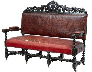 19th Century Antique Victorian Carved Oak Sofa Settle photo