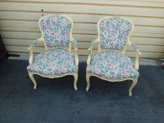 50924 Pair French Country Bergere Decorator Armchair S Chairs Chair S photo