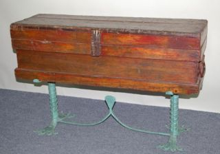 Antique Oak Tool Box On Custom Green Wrought Iron Stand photo