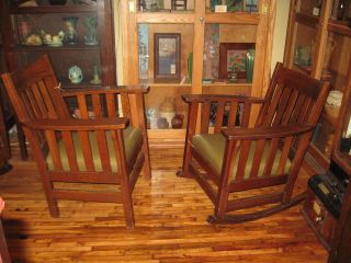 Mission Arts & Crafts Rocker & Chair Set Oak Leather photo