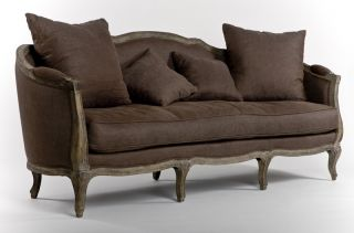 Chic Shabby French Style Aubergine Brown 100% Linen Sofa,  85  W photo