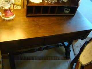 Antique Wood Desk - Three Drawer - Made In Usa Reduced Price photo