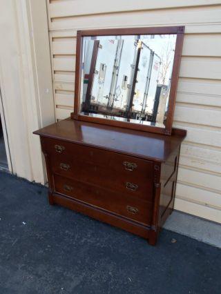 49850 Antique Eastlake Victorian Dresser With Beveled Mirror photo