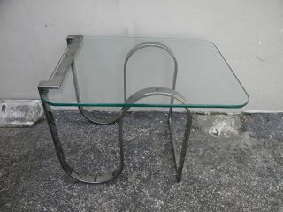 Mid Century Chrome And Glass Side Table 1429 photo