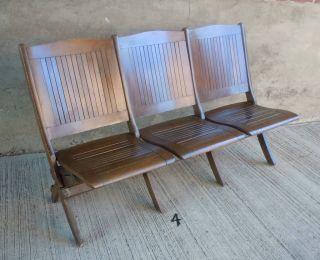 4 Vtg Set Of 3 Folding Wood Auditorium Storage Seats,  Bench 55