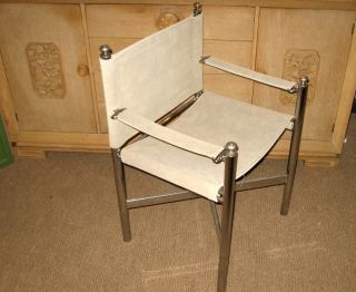 Mid Century Modernist Chrome X Base Tan Jansen Style Campaign Chair photo