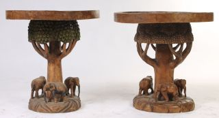 African Carved Tables Matching Pair Elephants And Foliate photo