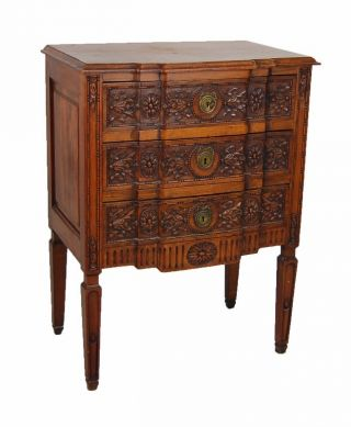 Carved Antique Walnut French Chest Of Drawers On Stand Candle Motif photo