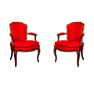 Set Of 2 French Louis Xv Style Walnut Armchairs photo