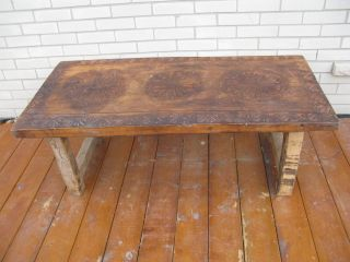 Latin American Wood Rustic Carved Design Coffee Table photo