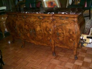 Amazing Large Antique Italian Marble Top Walnut Sideboard A+ Quality, photo