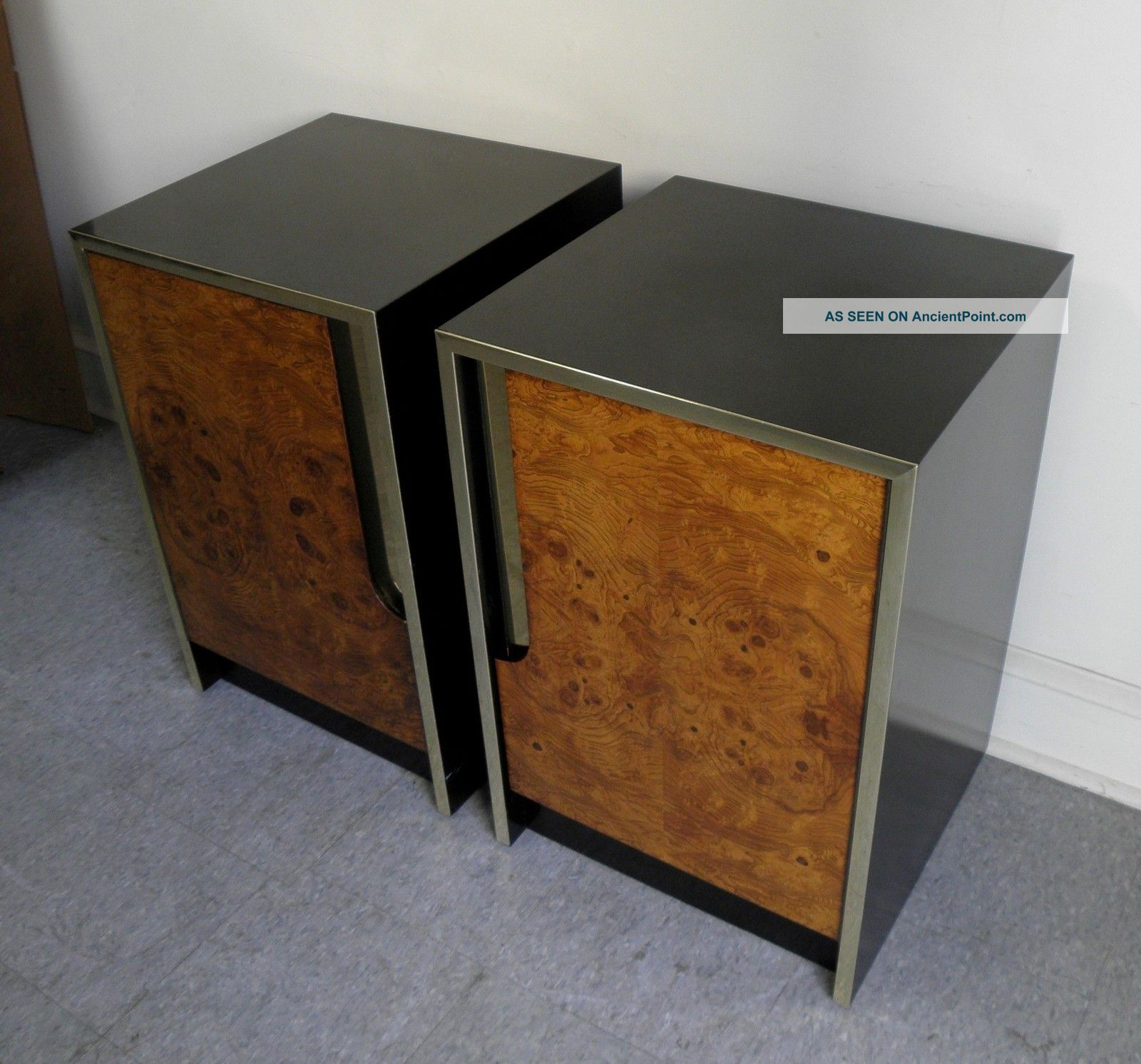 Very Impressive portraiture of Pair Mid Century Modern Burled Wood Brass Nightstands End Tables Milo  with #78451B color and 1600x1492 pixels