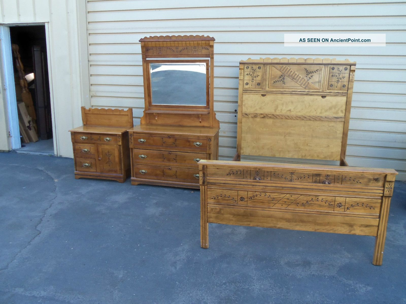 50078 Antique Victorian 3 Piece Bedroom Set Bed Dresser W Mirror Washstand
