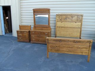 50078 Antique Victorian 3 Piece Bedroom Set Bed Dresser W/ Mirror Washstand photo