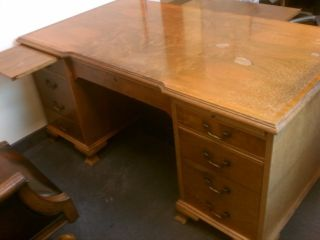 Gorgeous Antique Desk With Matching Table Perfect For The Executive photo