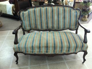 Gorgeous Antique Mahogany French Settee Circa 19th Century photo