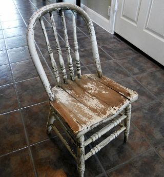 Antique Primitive Shabby Bentwood Spindle Childs Chair Sturdy Solid Hardwood photo