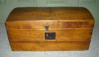 Antique 19 Th C.  Sawyer Dome Top Trunk Bangor Maine photo