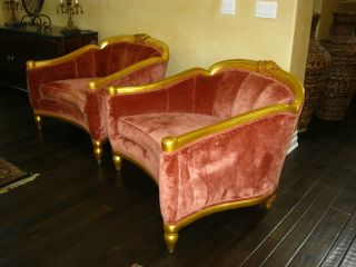 Pair Beverly Hills Designer Lounging Arm Chairs French Gold Gilt Velvet Fabric photo