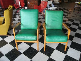 Vintage Mid Century Modern Pair Of Lounge Chairs W/ Green Upholstery photo