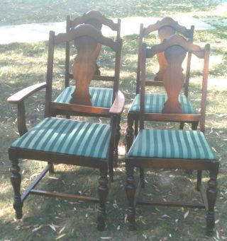 4 Vintage Victorian Oak Upholstered Dining Room Chairs - To Restore photo