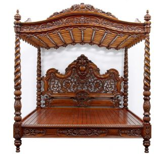 20th Century Baroque Rococo Carved Walnut Massive Four Poster Bed photo