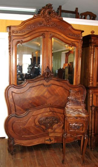 Gorgeous French Antique Walnut Louis Xv Full Size Bed,  Armoire,  & Nightstand photo