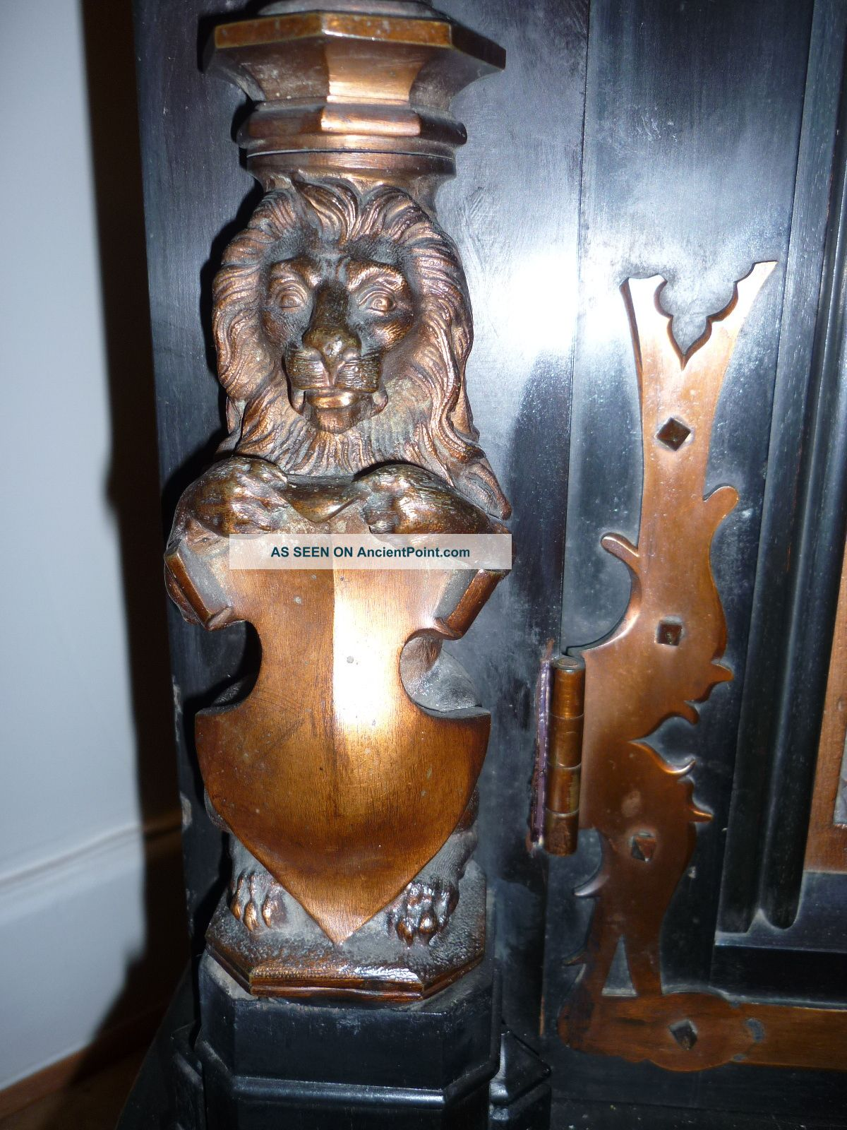19th Century Carved Ebony And Walnut Sideboard Romayne Panels Griffins Lions 1800-1899 photo