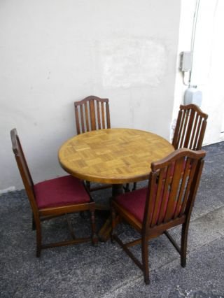 Early 1900 ' S Solid Oak & Tiger Oak Dinette Set photo