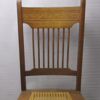 Charming Late Victorian Oak Pressback Chair•hand - Caned Seat•sturdy+ready To Use photo