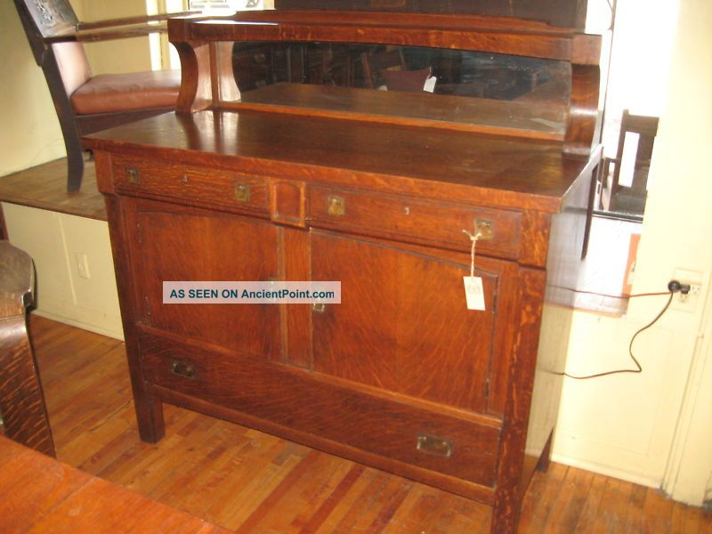 Mission Oak China Buffet Come - Packt Sideboard Mirror 1900-1950 photo