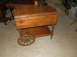 Extremely Rare Antique Rustic Pine Tea/serving Cart With Large Spoked Wheels photo