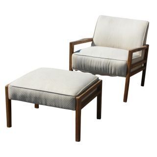 Vintage White Mid Century Lounge Chair And Ottoman photo