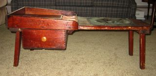 19th Century All Wood Hand Made Cobbler ' S Bench.  Leather Seat; W/ Tool Drawer photo