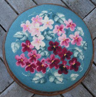 Antique French Needlepoint Mahogany Round Footstool photo