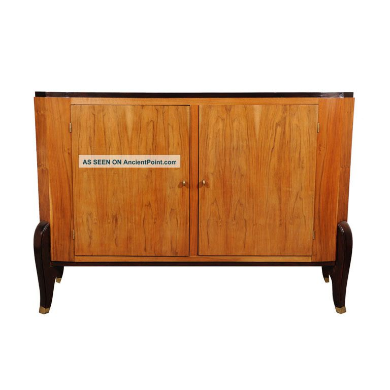 Antique Walnut Art Deco Sideboard Server Buffet France 1900-1950 photo