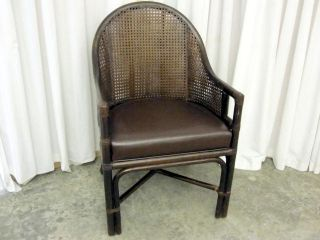 Antique Walnut Wicker Back Barrel Style Chair Bent Wood photo