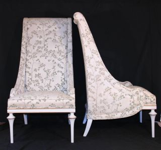 Pair Vintage Draped Hollywood Regency Tall Back Sloped Arm Chairs Baker Quality photo