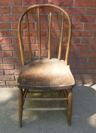Antique Solid Oak Mission Style Chair Furniture photo
