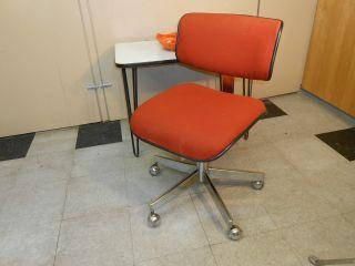 1970 ' S Cole Orange Fabric Desk Office Chair Mid Century Retro Modern Chrome photo