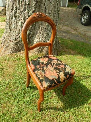 Gorgeous Antique Carved Balloon Back Chair W/glowing Natural Patina photo