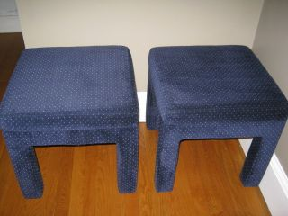 Pair Mid Century Modern Hollywood Regency Upholstered Stools Benches Ottomans photo