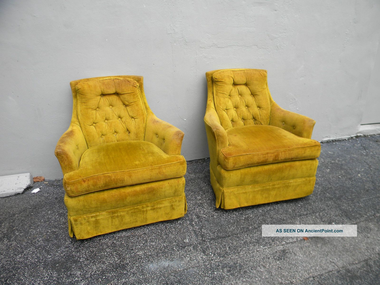 Pair Of Mid Century Swivel Rocking Living Room Side By