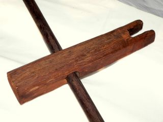 "Rare 19th Century Early Bed Rope Tightener,  Oak,  T Handle.  12"" photo"
